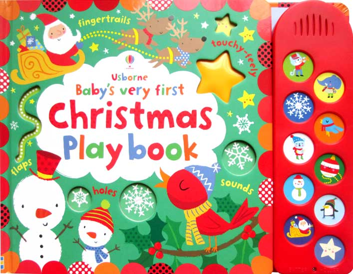 toko mainan online Usborne Babys Very First Christmas Play Book with 10 sounds, touchy feely textures and flaps to lift