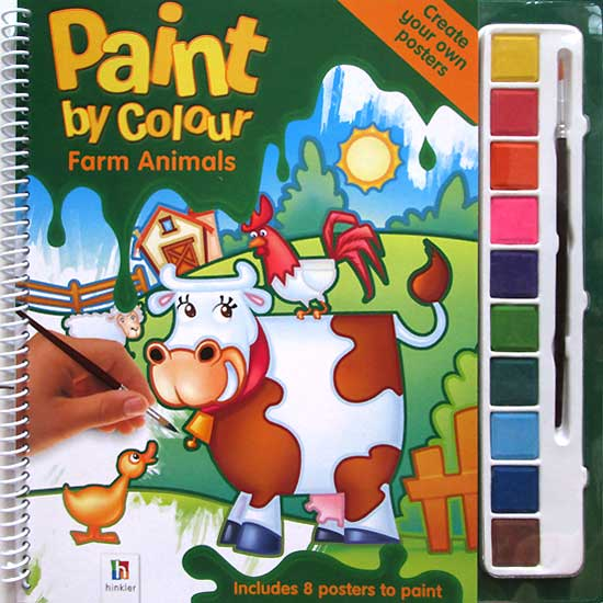 toko mainan online Paint by Colour Farm Animals - Painting Book