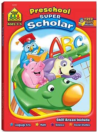 toko mainan online School Zone Preschool Super Scholar Workbook (Skills Includes: Language, Maths, Science, Social Studies)